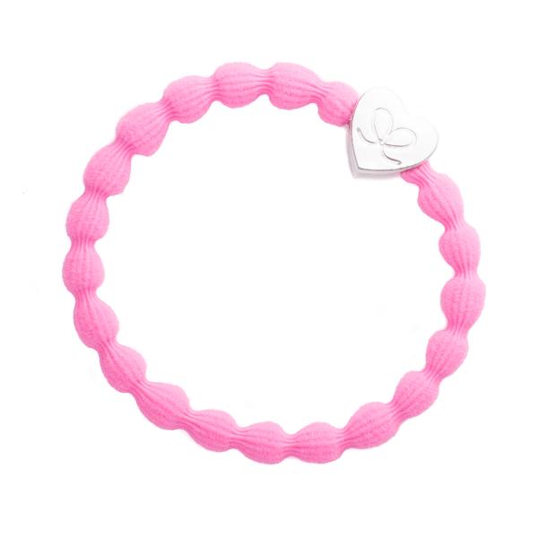 ByEloise Silver Heart · Neon Pink· Haargummi