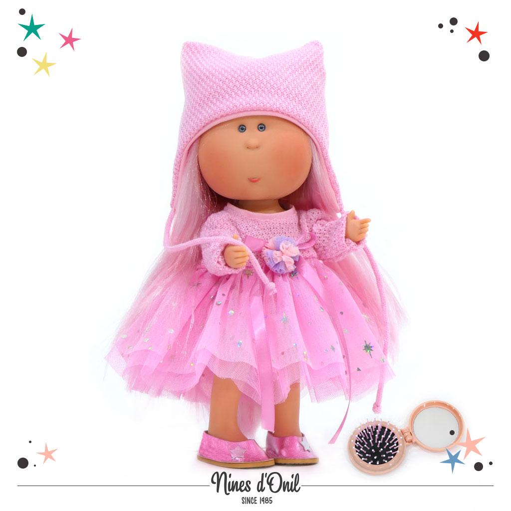 Nines d'Onil Puppe MIA mit Kopfbedeckung · Pink